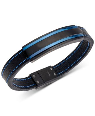 Men's Two-Tone Black Leather Bracelet in Matte Black & Blue Ion-Plated Stainless Steel
