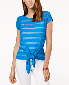 I.N.C. Illusion Tie-Front T-Shirt, Created for Macy's