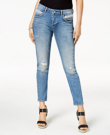 GUESS Embellished Relaxed-Fit Skinny Jeans
