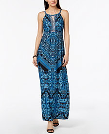 I.N.C. Petite Printed Embellished Keyhole Maxi Dress, Created for Macy's