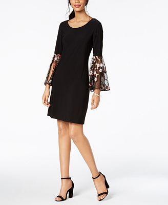 Embroidered Bell Sleeve Dress MSK