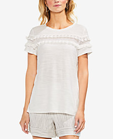 Vince Camuto Mesh-Panel Tassel-Trim Top