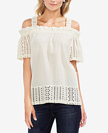Vince Camuto Cotton Cold-Shoulder Eyelet Top