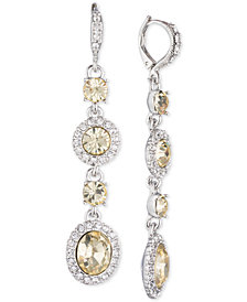 Givenchy Silver-Tone Crystal & Stone Linear Drop Earrings, Created for Macy's