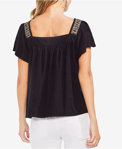 Top Camuto Beaded Rich Cotton Black Vince wFtZzq