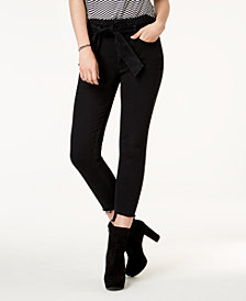 Tinseltown Juniors' Paperbag Step-Hem Skinny Jeans