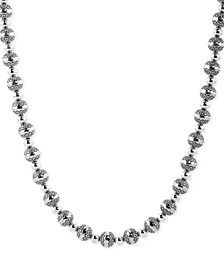 "Decorative Bead 21"" Statement Necklace in Sterling Silver"