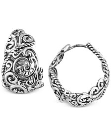 Carolyn Pollack Rope Swirl Hoop Earrings in Sterling Silver
