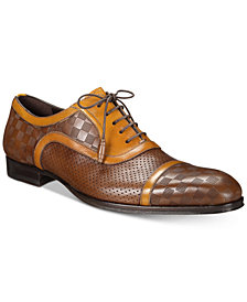 Mezlan Men's Leather Checkered Oxfords
