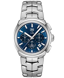 Men's Swiss Automatic Chronograph Link Calibre 17 Stainless Steel Bracelet Watch 41mm