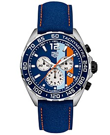 Men's Swiss Chronograph Formula 1 Gulf Edition Blue Leather Strap Watch 43mm