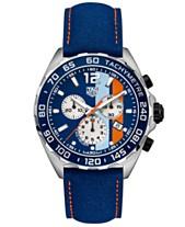 37545540aaf TAG Heuer Men's Swiss Chronograph Formula 1 Gulf Edition Blue Leather Strap  Watch 43mm