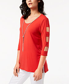 JM Collection Lattice-Sleeve Necklace Tunic, Created for Macy's