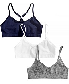 3-Pk. Seamless Crop Bras, Little & Big Girls