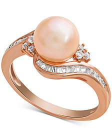 Pink Cultured Freshwater Pearl (8mm) & Diamond (1/4 ct. t.w.) Swirl Ring in 14k Rose Gold