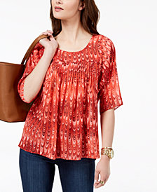 MICHAEL Michael Kors Marbled-Print Pleated Top