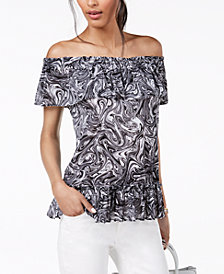 MICHAEL Michael Kors Marbled-Print Off-The-Shoulder Top, Regular & Petite