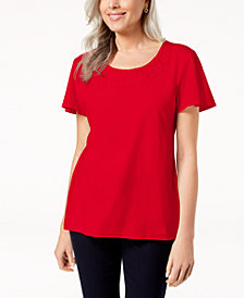 Karen Scott Woven Scoop-Neck Top, Created for Macy's