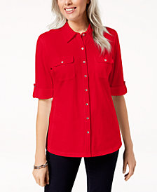 Karen Scott Elbow-Length Roll-Tab-Sleeve Shirt, Created for Macy's
