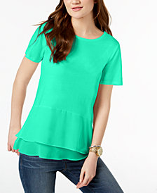 MICHAEL Michael Kors Double-Hem Peplum Top, Created for Macy's