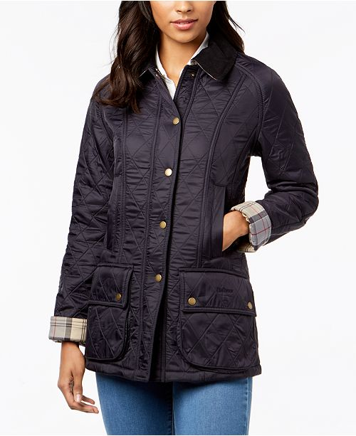 6ad6ca702c5 Barbour Beadnell Polarquilt Plaid-Trim Utility Coat   Reviews - Coats ...
