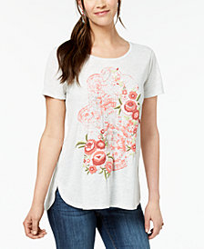 Style & Co Petite Puff-Print T-Shirt, Created for Macy's