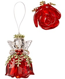 Kissing Krystals Teeny Red Rosebud Angel Ornament