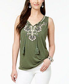 Style & Co Petite Embroidered Split-Neck Top, Created for Macy's