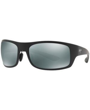 MAUI JIM Sunglasses, 440 Big Wave 67 in Black Matte/Grey Polar