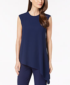 Anne Klein Cap-Sleeve Asymmetrical Top