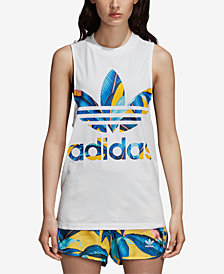 adidas Originals Printed-Logo Racerback Tank Top