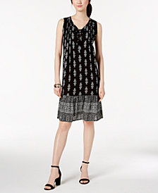 NY Collection Petite Mixed-Print Lace-Up Shift Dress