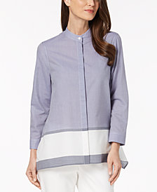 Anne Klein Cotton Chambray Trapeze Shirt
