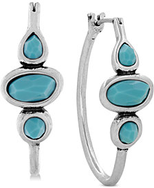 Lucky Brand Silver-Tone Turquoise Hoops Earrings