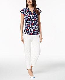 Anne Klein Pleated Top & Slim-Fit Pants