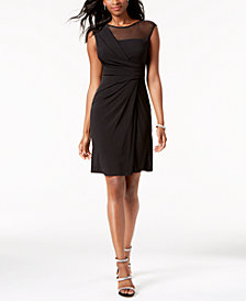 Jessica Howard Ruched Illusion Dress