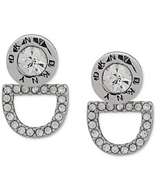 DKNY Silver-Tone Crystal Logo Floater Earrings