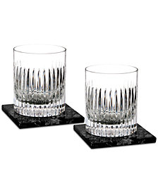 Waterford Aras 2-Pc. Double Old Fashioned Glass Set with 2 Marble Coasters