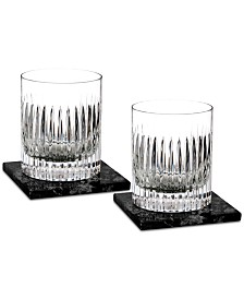 Waterford Aras Double Old Fashioned Glass Pair with 2 Marble Coasters