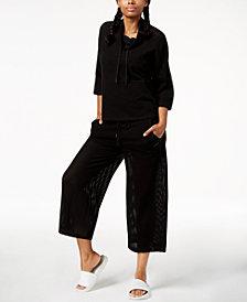 Calvin Klein Performance Cowl-Neck Top & Cropped Wide-Leg Pants