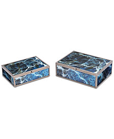 Mundi Set Of 2 Boxes Blue Geode