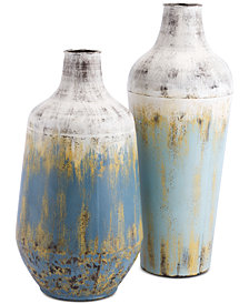 Zuo Rustic Multicolor Metal Vases, Set of 2