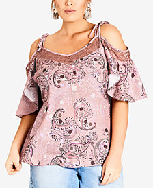 City Chic Trendy Plus Size Cold-Shoulder Lace-Trim Top