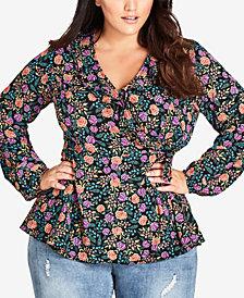 City Chic Trendy Plus Size Floral-Print Wrap Top