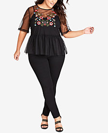 City Chic Trendy Plus Size Embroidered Mesh Top