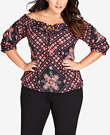 City Chic Trendy Plus Size Road Trip Printed Off-The-Shoulder Top