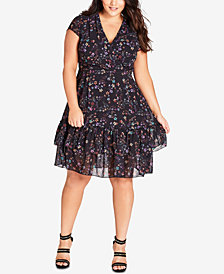 City Chic Trendy Plus Size Printed Dreamy Floral Fit & Flare Dress