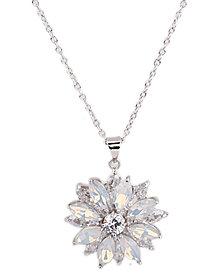 "Nina Cubic Zirconia Flower Pendant Necklace, 17"" + 3"" extender"