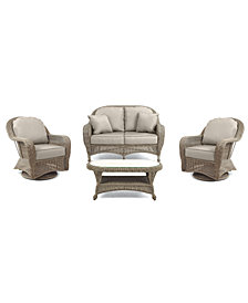 Sandy Cove Outdoor Wicker 4-Pc. Seating Set (1 Loveseat, 2 Swivel Gliders and 1 Coffee Table) Custom Sunbrella®, Created for Macy's