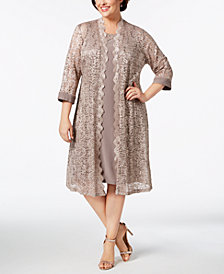 R & M Richards Plus Size Dress & Sequined Lace Duster Jacket